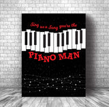 Classic Rock Art Print Song Lyrics Inspired - Piano Man by Billy Joel