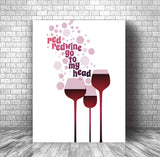 Music Quote Song Lyric Art Poster - Red Red Wine by Neil Diamond