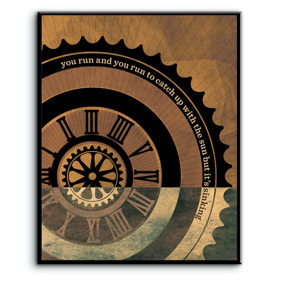Song Lyric Interpretation Music Quote Artwork - Time by Pink Floyd