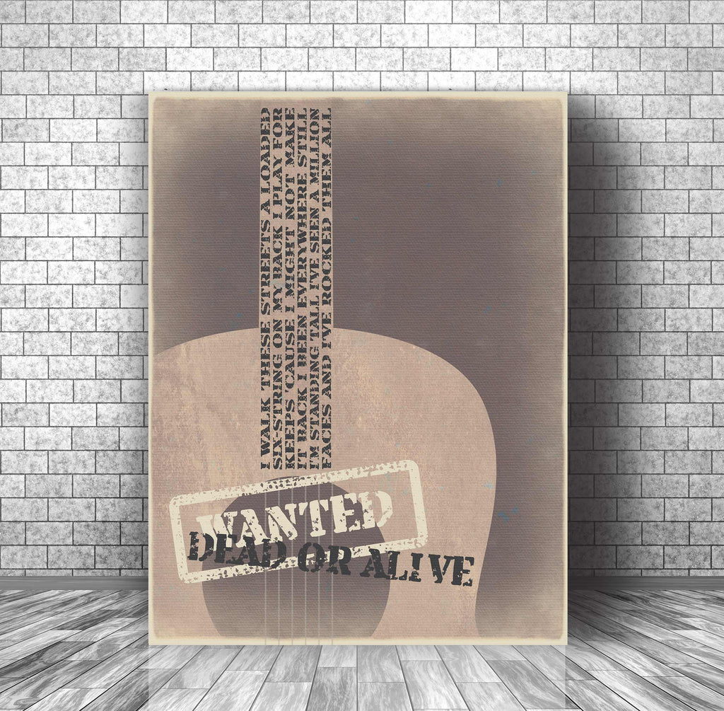 Song Lyric Art Wall Print Poster - Wanted Dead or Alive Bon Jovi