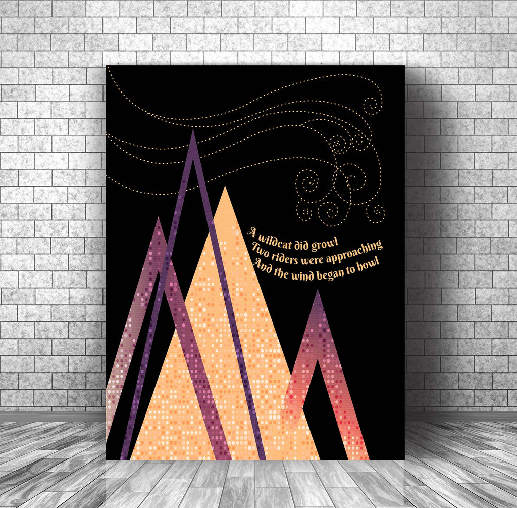 Abstract Modern Song Lyric Art - All Along the Watchtower by Jimi Hendrix