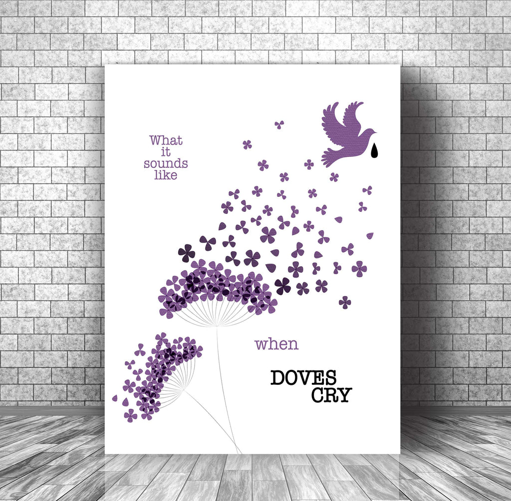 Song Lyrics Wall Art Print Music Poster - When Doves Cry by Prince