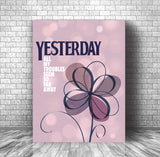 Yesterday by the Beatles Song Lyric Art Poster