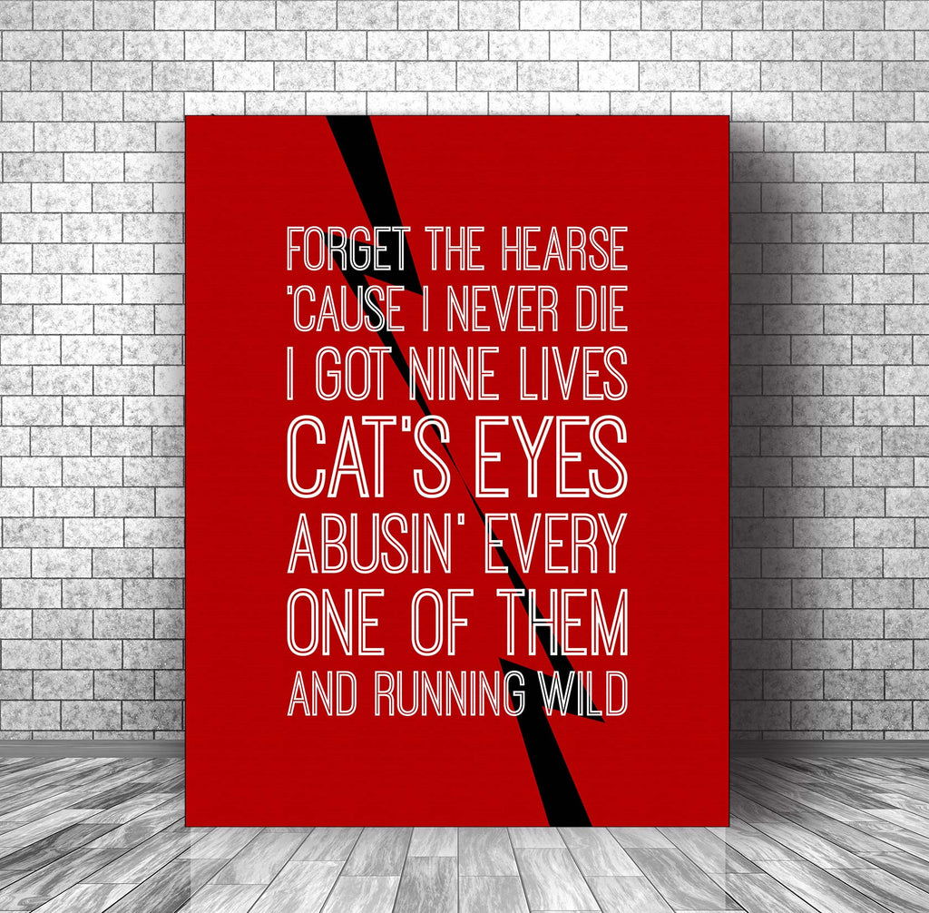 Lyrically Inspired Art Poster Wall Decor Print - Back in Black by ACDC
