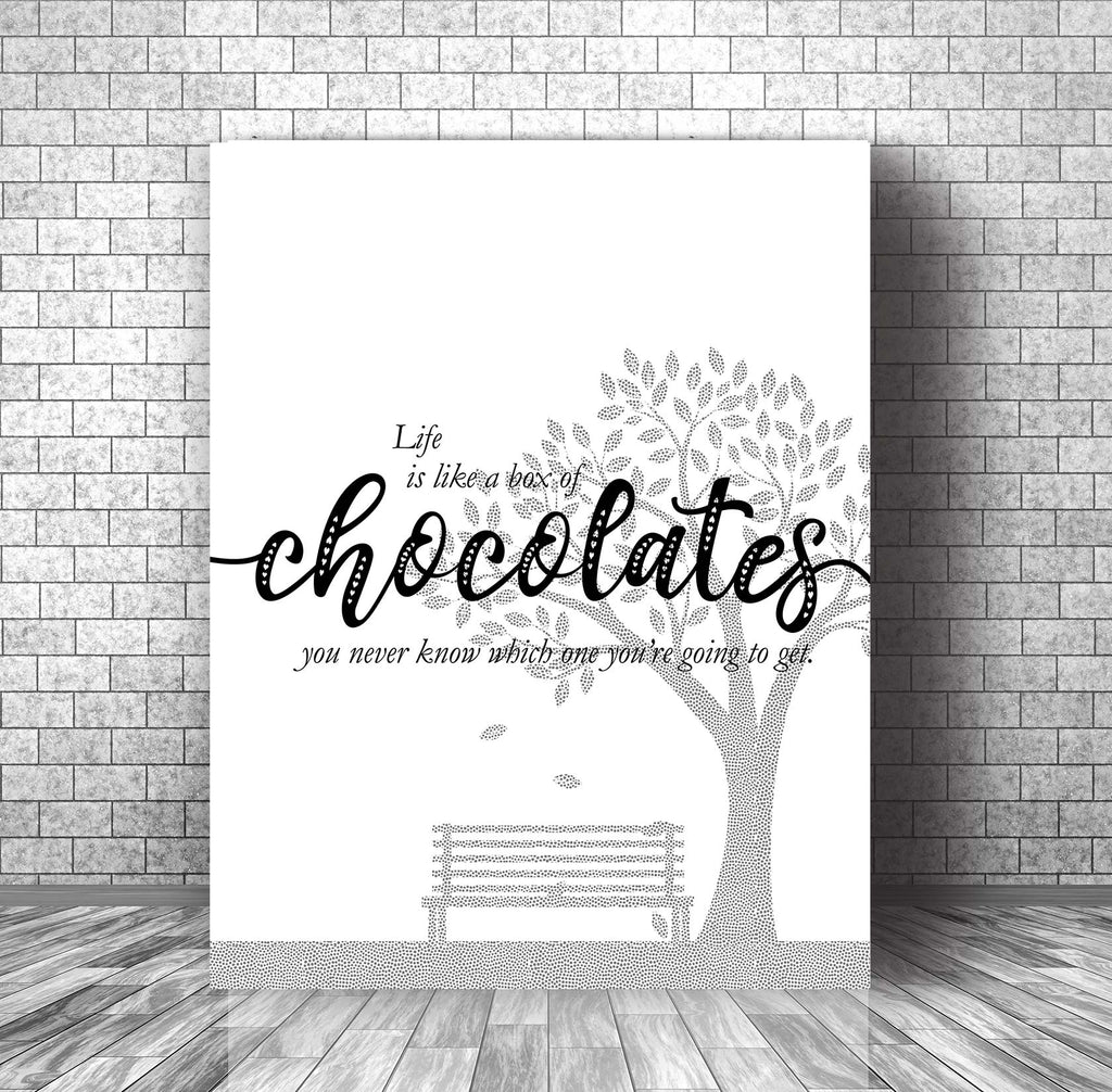 Quote of the Day - Like is Like a Box of Chocolates - Wall Art Print Poster Visual Art Decor