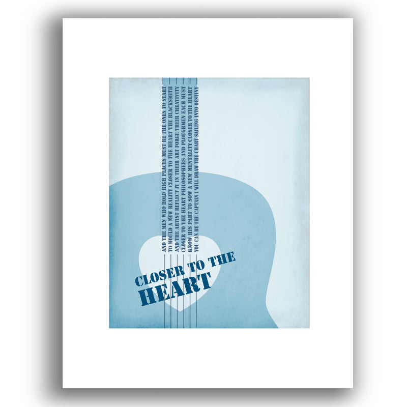 White Matted Print Song Lyric Wall Art Decor