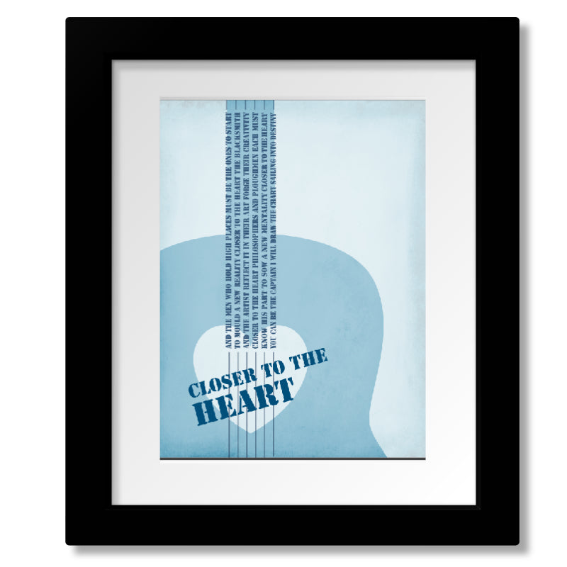Framed and Matted Wall Art Classic Rock Music Song Lyric Print