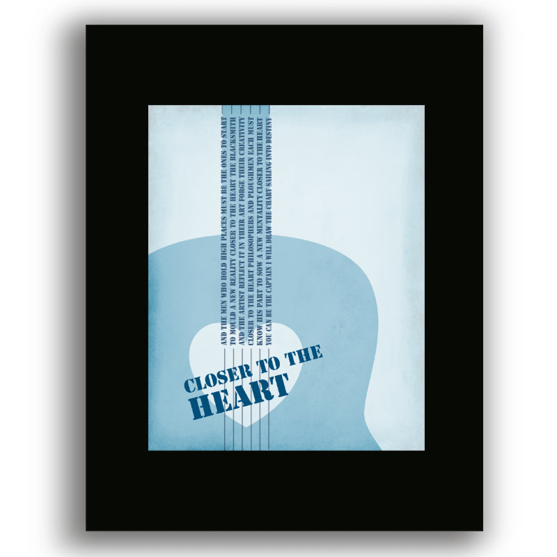 Black Matted Print Classic Rock Music Song Lyric Artwork