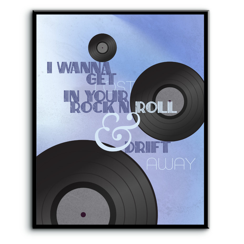 Drift Away by Dobie Gray - 70s Pop Music Lyric Art Wall Decor Print, Poster, Canvas or Plaque