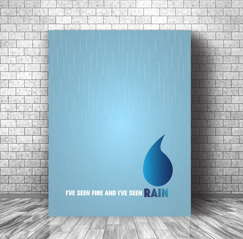 Fire and Rain by James Taylor - Pop Music Wall Art Print Decor - Music Poster - Canvas or Plaque