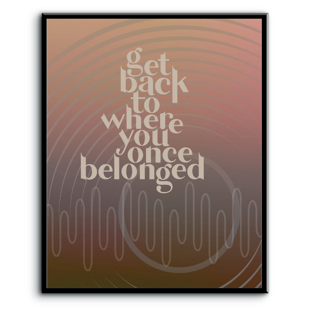 Get Back by the Beatles Song Lyrics Art Print Poster Decor