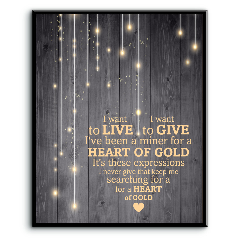 Heart of Gold by Neil Young Song Lyric Music Poster Wall Art