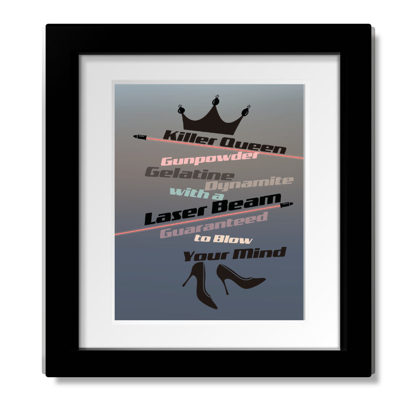 Killer Queen by Queen - Song Lyrics Art Print Wall Decor - Music Quote Gift