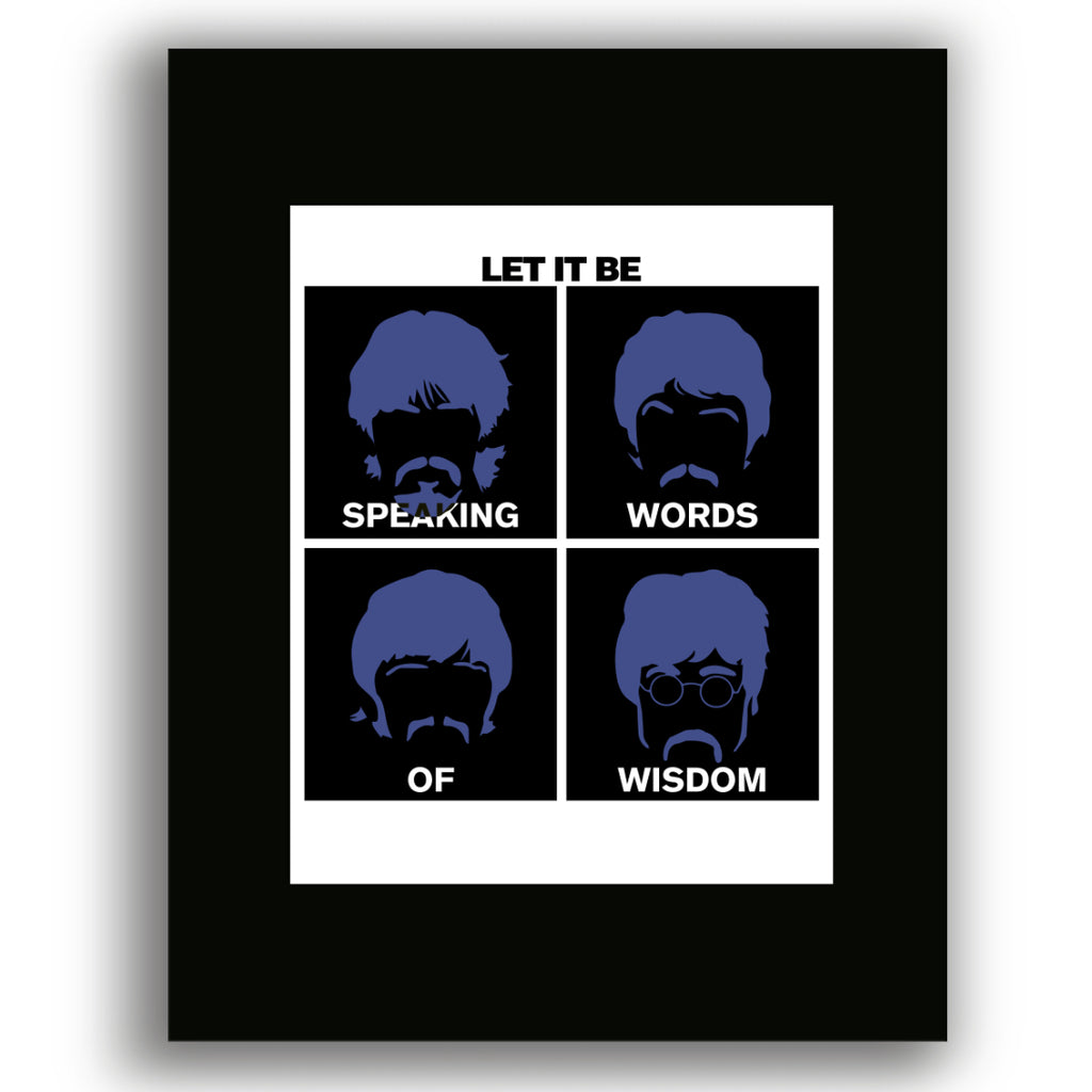 Let it Be by the Beatles Song Lyric Print Illustration Art