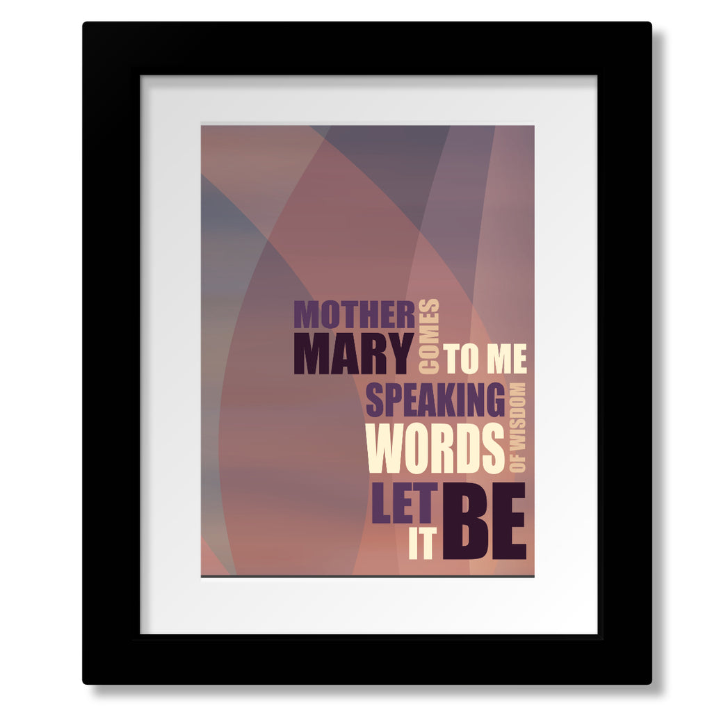 Beatles - Let It Be - Song Lyrics Art Print Wall Decor - Music Poster