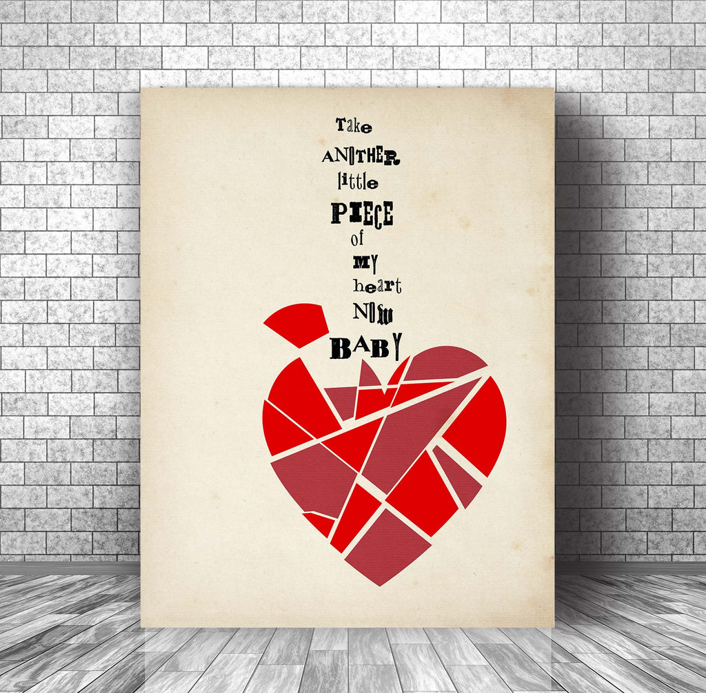 Little Piece of my Heart by Janis Joplin - Music Quote Song Lyrics Inspired Print Poster