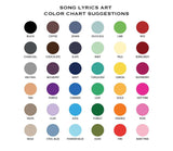 color chart for song lyrics art online shopping for song lyric prints