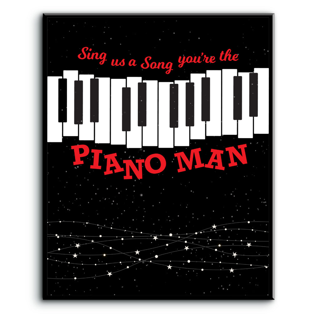 Piano Man by Billy Joel Song Lyric Wall Art Print