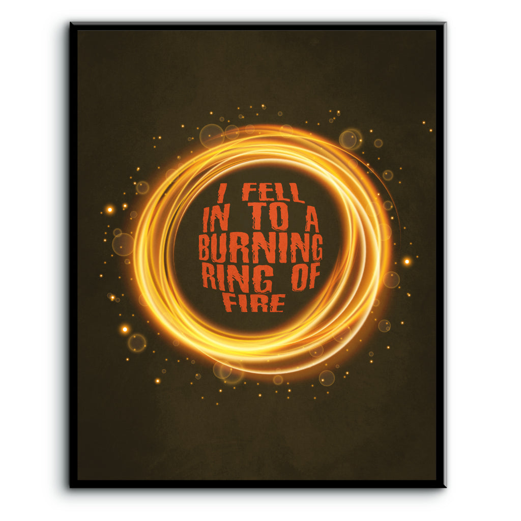 Country Music Song Lyrics Wall Art Decor - Ring of Fire by Johnny Cash