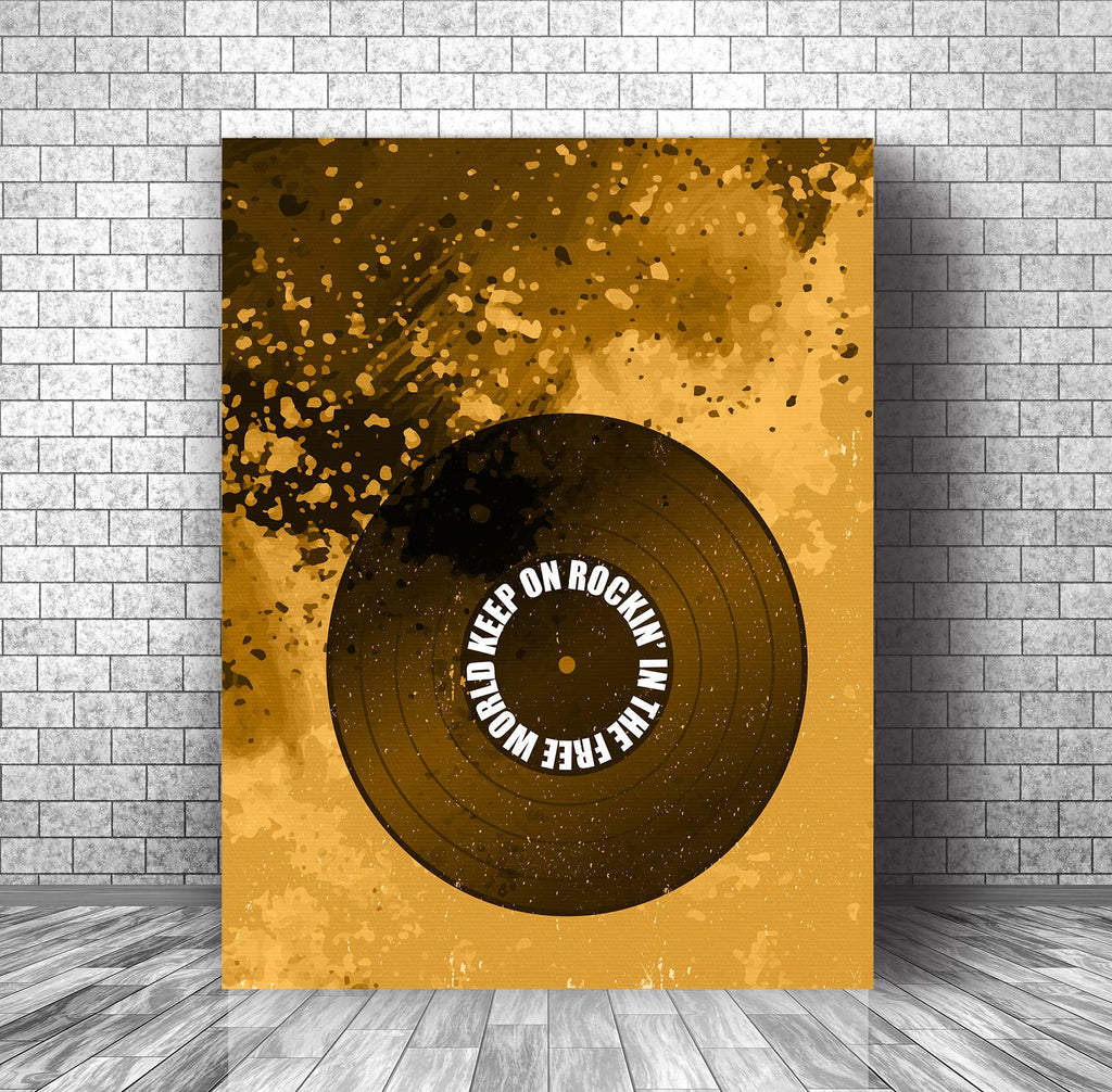 Song Lyric Music Art Decor - Rockin' in the Free World by Neil Young
