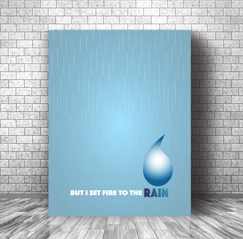 Illustrated Song Lyric Art Music Poster - Set Fire to the Rain by Adele