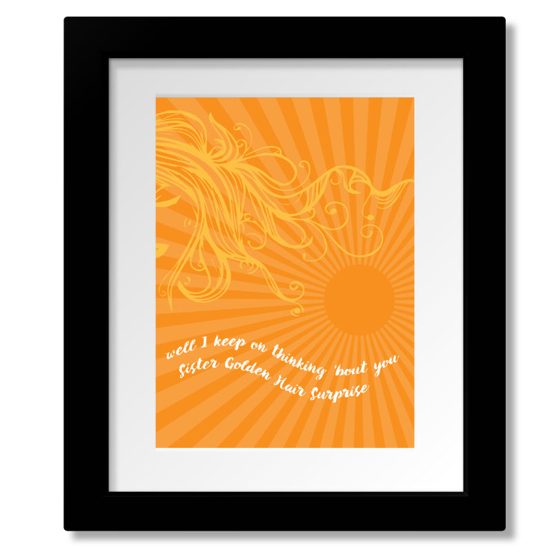 Sister Golden Hair by America Band - Lyrically Inspired Wall Music Art - Poster, Print, Canvas or Plaque
