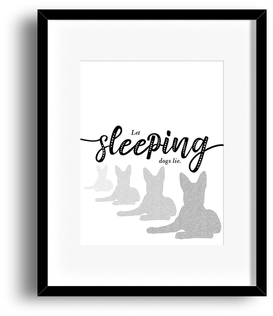 Humorous Wall Decor Art - Let Sleeping Dogs Lie - Sarcastic Kitchen Artwork Poster