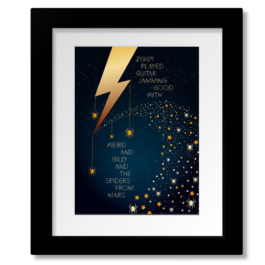 Ziggy Stardust by David Bowie - Song Lyric Wall Decor - Classic Rock Music Print Poster Visual Art