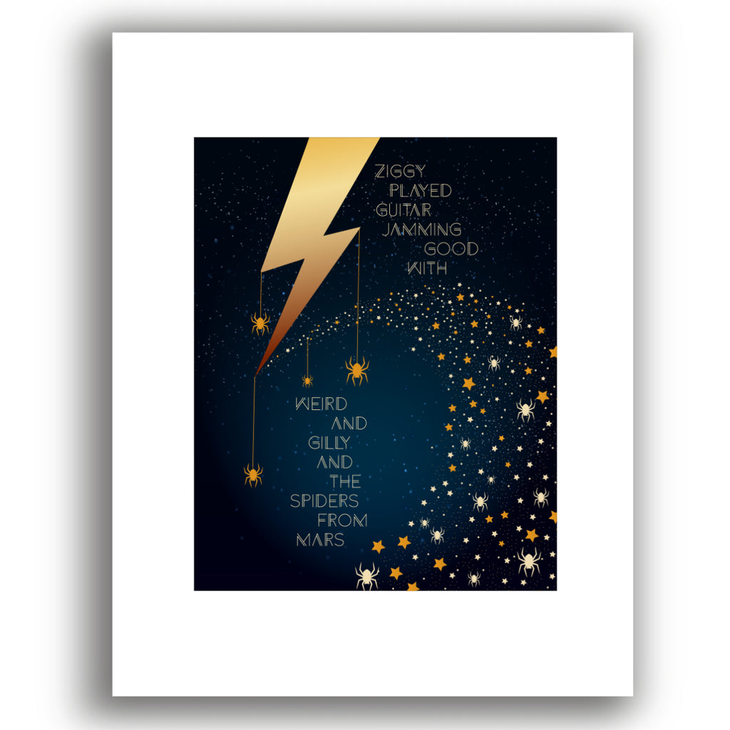 Ziggy Stardust by David Bowie - Song Lyric Classic Rock Music - Print Poster Visual Art