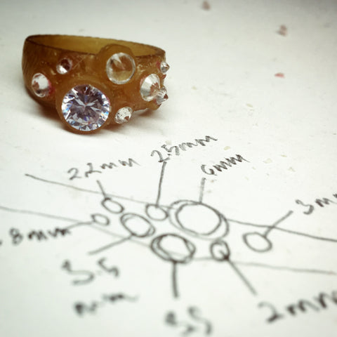 stone placement map and wax model for Lisa's wedding ring