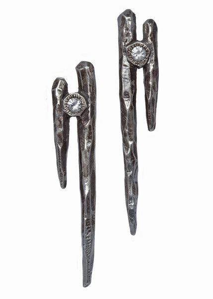 Dark Starla collection Double Dagger Stud earrings in dark silver with white sapphires, Heather Perry