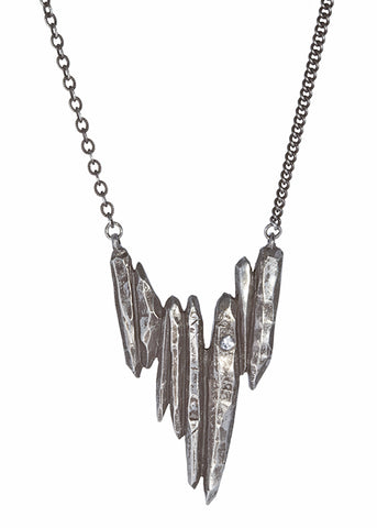 Dark Starla pendant necklace in dark silver with white sapphire, Heather Perry