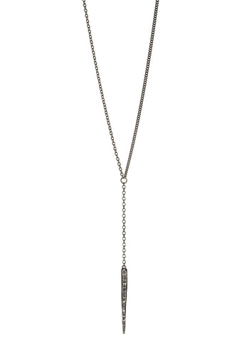 Dark Starla collection Long Dagger Necklace in dark silver, Heather Perry