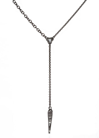 Dark Starla Tiny Dagger Necklace in dark silver with white sapphire, Heather Perry