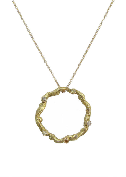 Small Diadem Pendant necklace from Tatiana collection in gold with champagne diamonds, Heather Perry