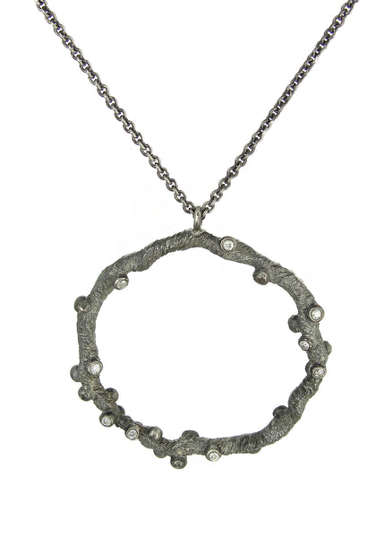 Diadem pendant necklace from the Tatiana collection in dark silver with champagne diamonds, Heather Perry