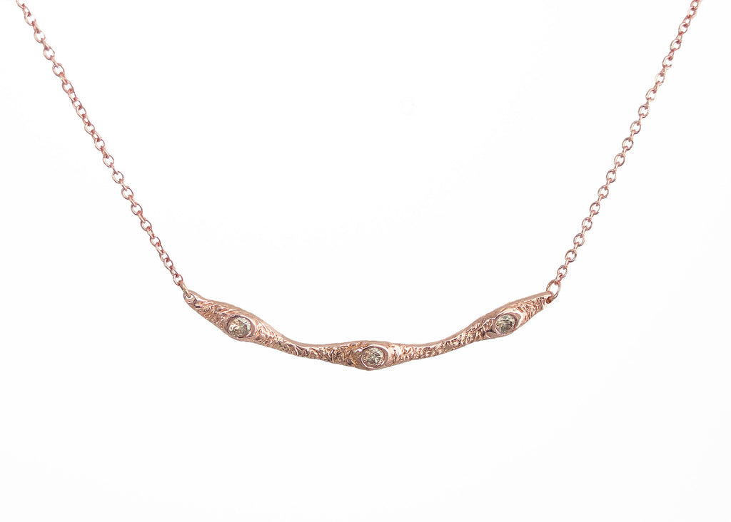 Tatiana collection Dryad Three inline pendant necklace in rose gold with champagne diamonds, Heather Perry