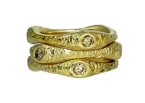 Dryad Three Stacking Ring Set from the Tatiana collection in gold with champagne diamonds, Heather Perry