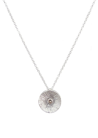 Helio Pendant necklace from Eternity collection, silver with champagne diamond, Heather Perry