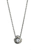 Tatiana Solitaire necklace in dark silver with white sapphire, Heather Perry
