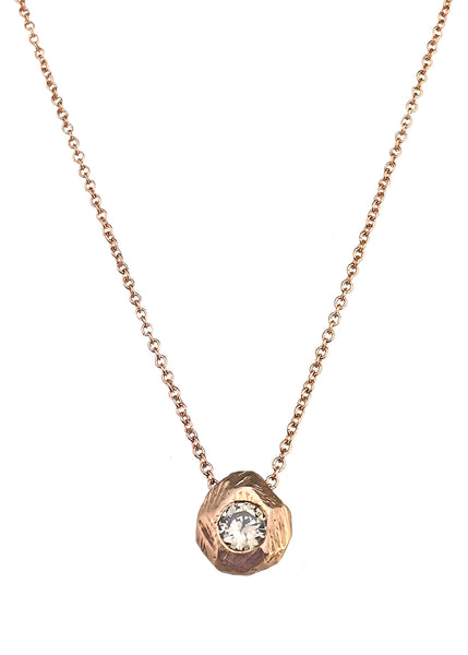 Tatiana Pink Champagne Solitaire necklace in rose gold with champagne diamond, Heather Perry
