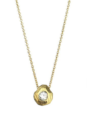 Tatiana Diamond Solitaire necklace in gold with diamond, Heather Perry