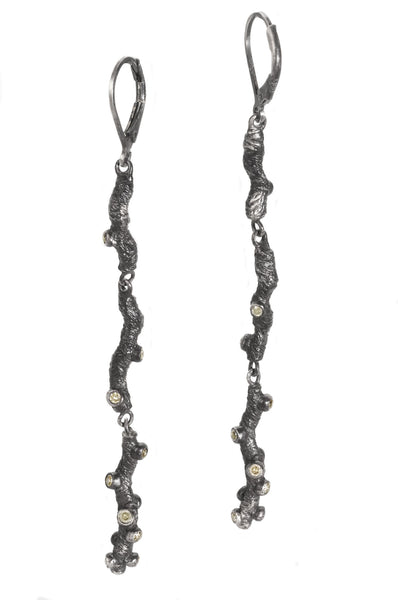 WoodSprite Sparkle Long Earrings from Tatiana collection in dark silver with champagne diamonds, Heather Perry