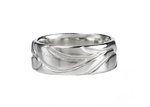 Tendril Men's Wedding Band in white gold, Heather Perry