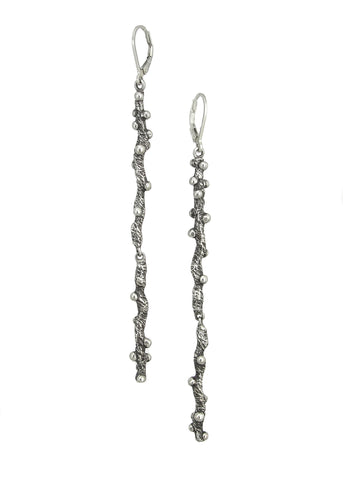 WoodSprite Long Earrings from Tatiana collection in dark silver, Heather Perry