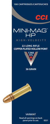 CCI Mini-Mag .22LR 36gr Copper Plated HP - Pack of 100 Rounds