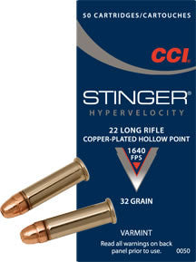 CCI Stinger .22LR Copper Plated Hollow Point
