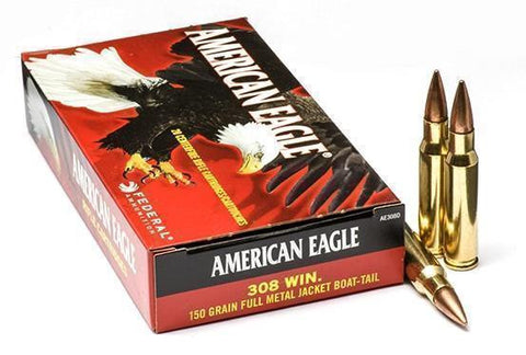 American Eagle .308 WIN 150gr FMJ Boat-Tail - Pack of 20 Rounds