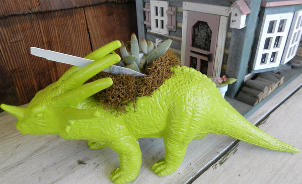 Green Dinosaur with Horn Planter