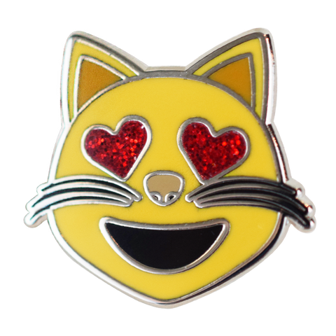Cat (Heart Eyes) Emoji Pin - Emoji Pins | Emoji Keychains | Emoji Earrings | Emoji Gifts